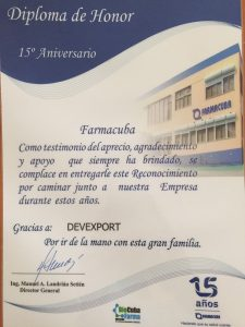 Diploma Farmacuba 15 años